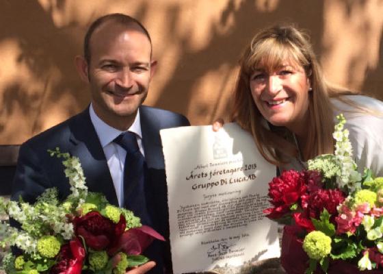 Christian och Gabriella Di Luca tar emot priset som Årets Företagare